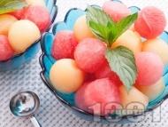 Плодова салата с диня и пъпеш